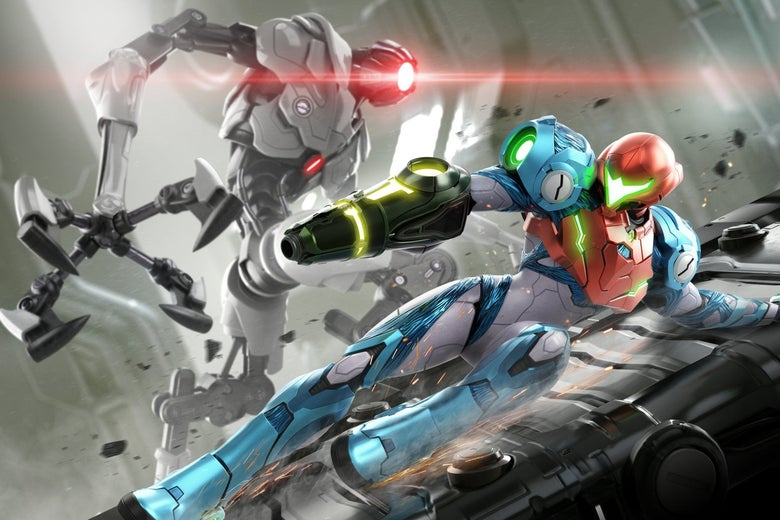 A woman in a blue-and-gray space suit with a red helmet slides across a metal platform. A robotic monster with a white body and metallic black arms leers at her with its single red laser eye.