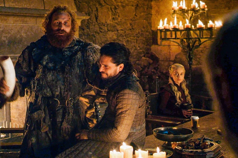 A shot from Game of Thrones in which a disposable coffee cup is on the table at an old-timey banquet.