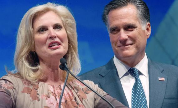 U.S. Republican presidential hopeful Mitt Romney listens to his wife Ann as she addresses the National Rifle Association Leadership Forum on April 13, 2012, in St. Louis