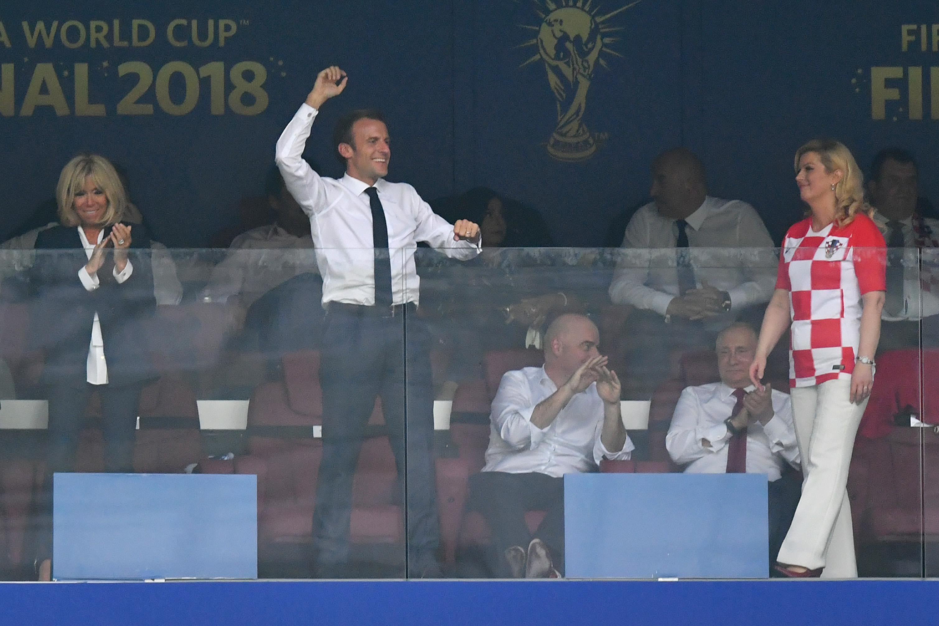 French President Emmanuel Macron celebrates after his team's fourth goal during the 2018 FIFA World Cup Final between France and Croatia at Luzhniki Stadium on July 15, 2018 in Moscow, Russia.