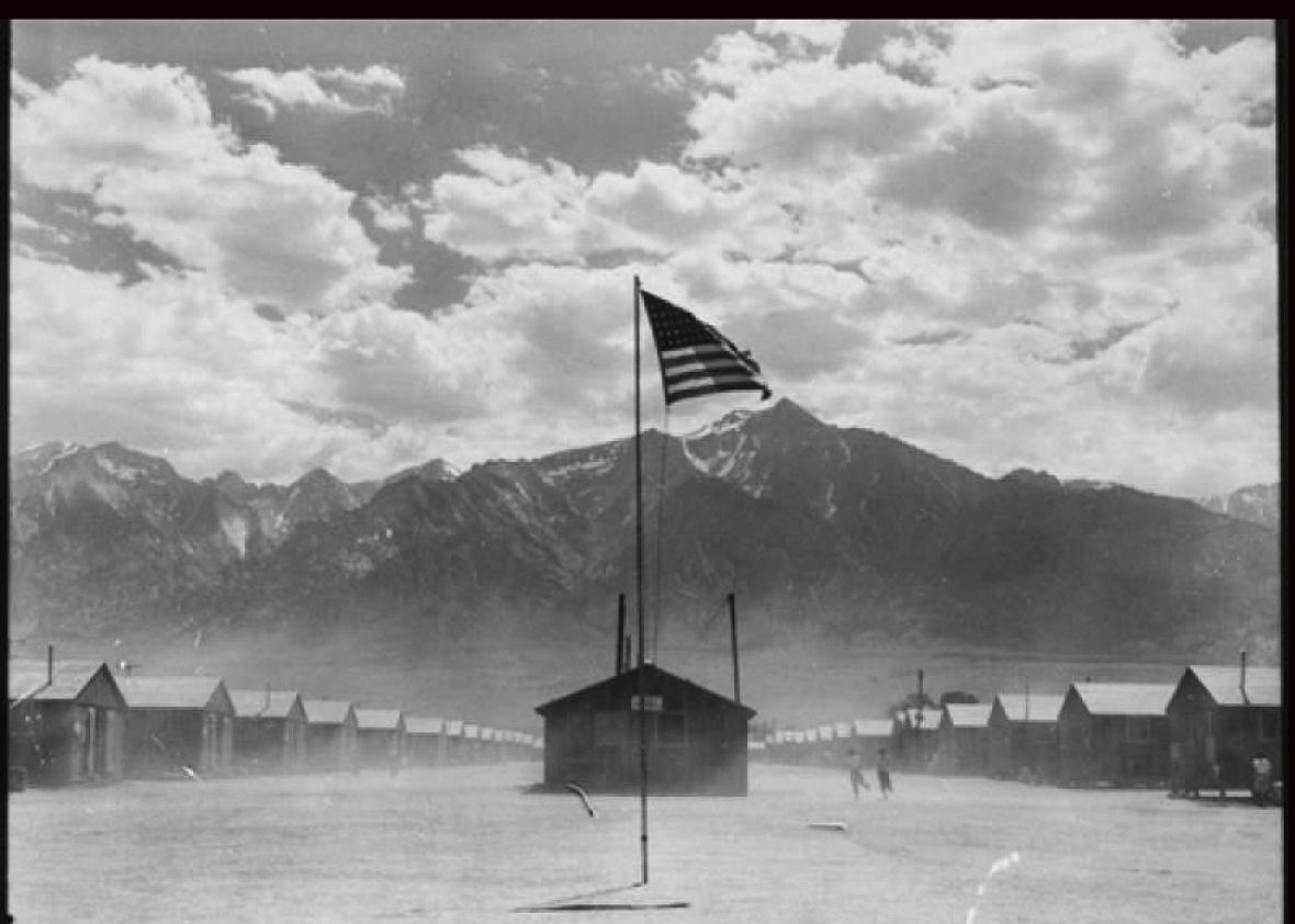 Dust storm at a War Relocation Authority center where evacuees o