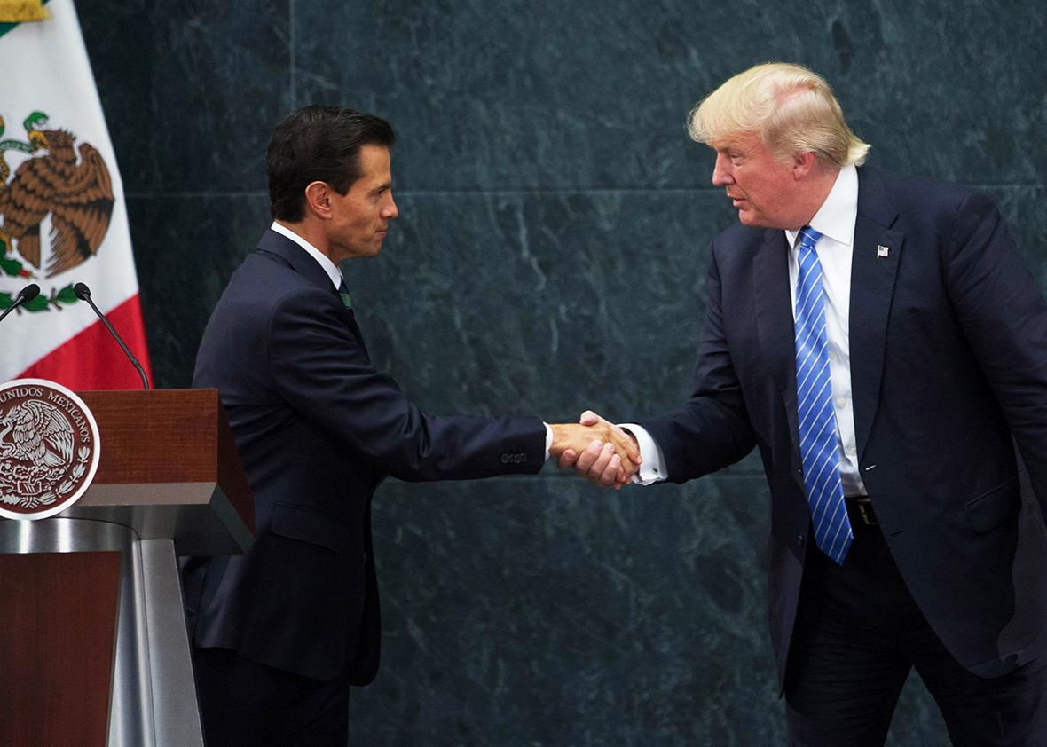 President of Mexico Enrique Pena Nieto and US Republican presidential candidate, Donald Trump attend a meeting at Los Pinos presidential residence, in Mexico City, Mexico on August 31, 2016.