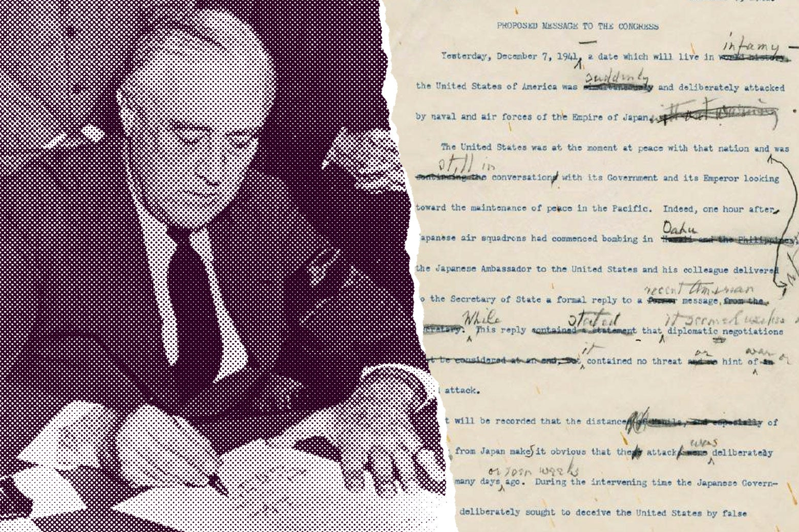 December 8, 1941 -  Franklin Roosevelt asks Congress for a Declaration of War with Japan in writing.