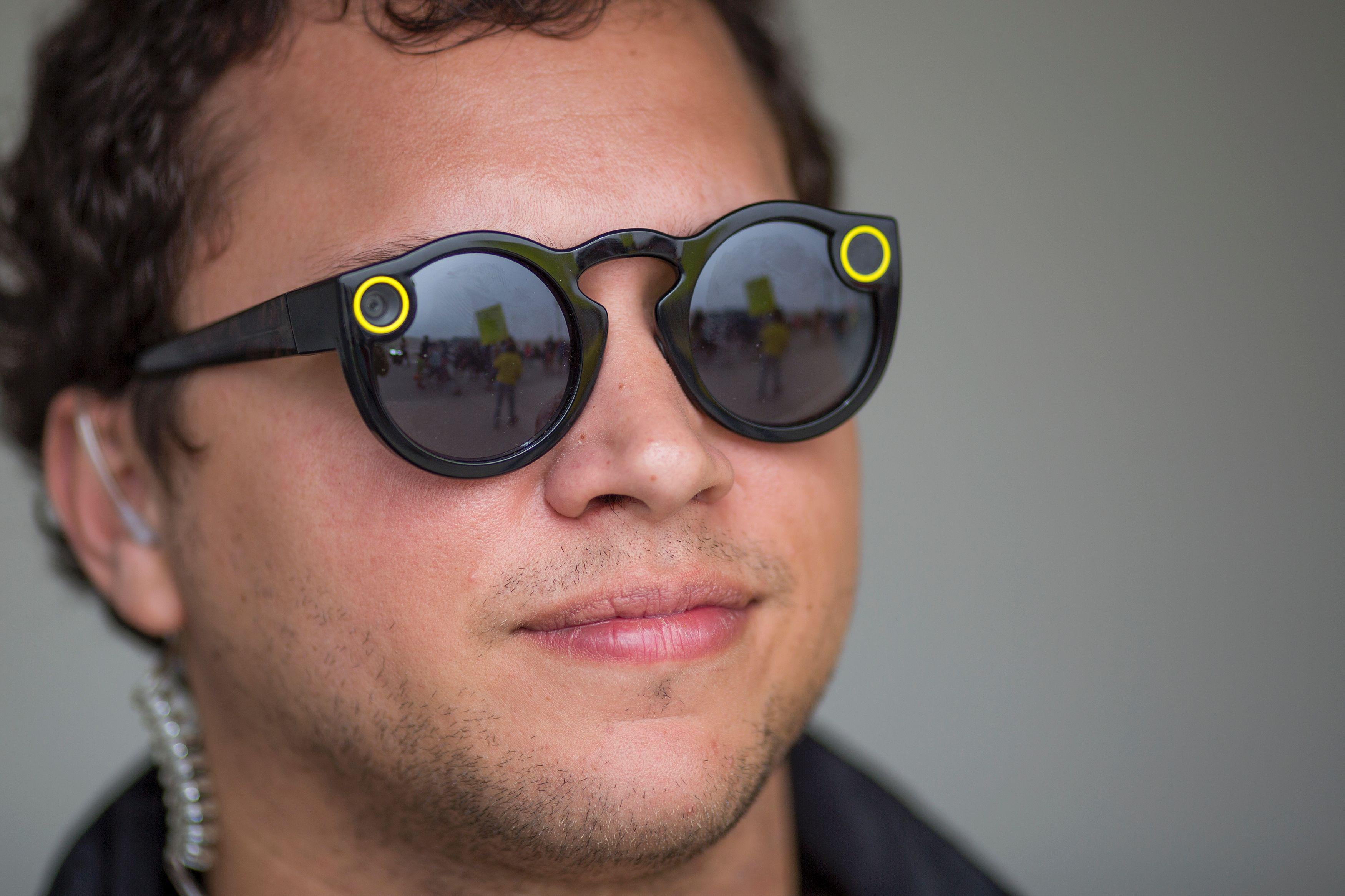A Snap employee sports Spectacles—because no one else will.