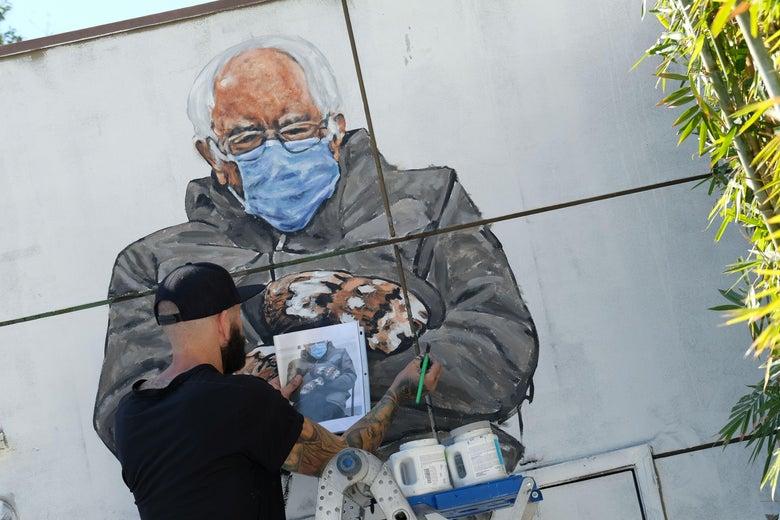 Jonas Never (@never1959) paints a mural of Senator Bernie Sanders in Culver City, California on January 24, 2021.