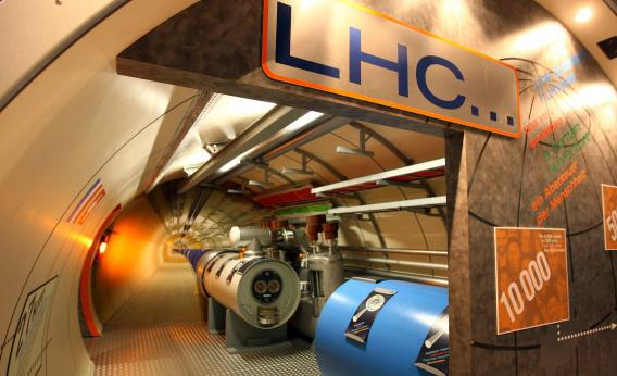 A model of the Large Hadron Collider tunnel in the CERN visitors' center.