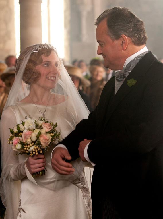 Laura Carmichael as Lady Edith and Hugh Bonneville as Robert, Earl of Grantham.