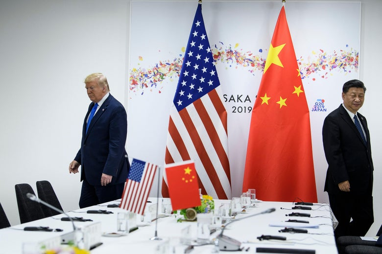 Donald Trump and President Xi Jinping walking different directions away from a negotiating table.