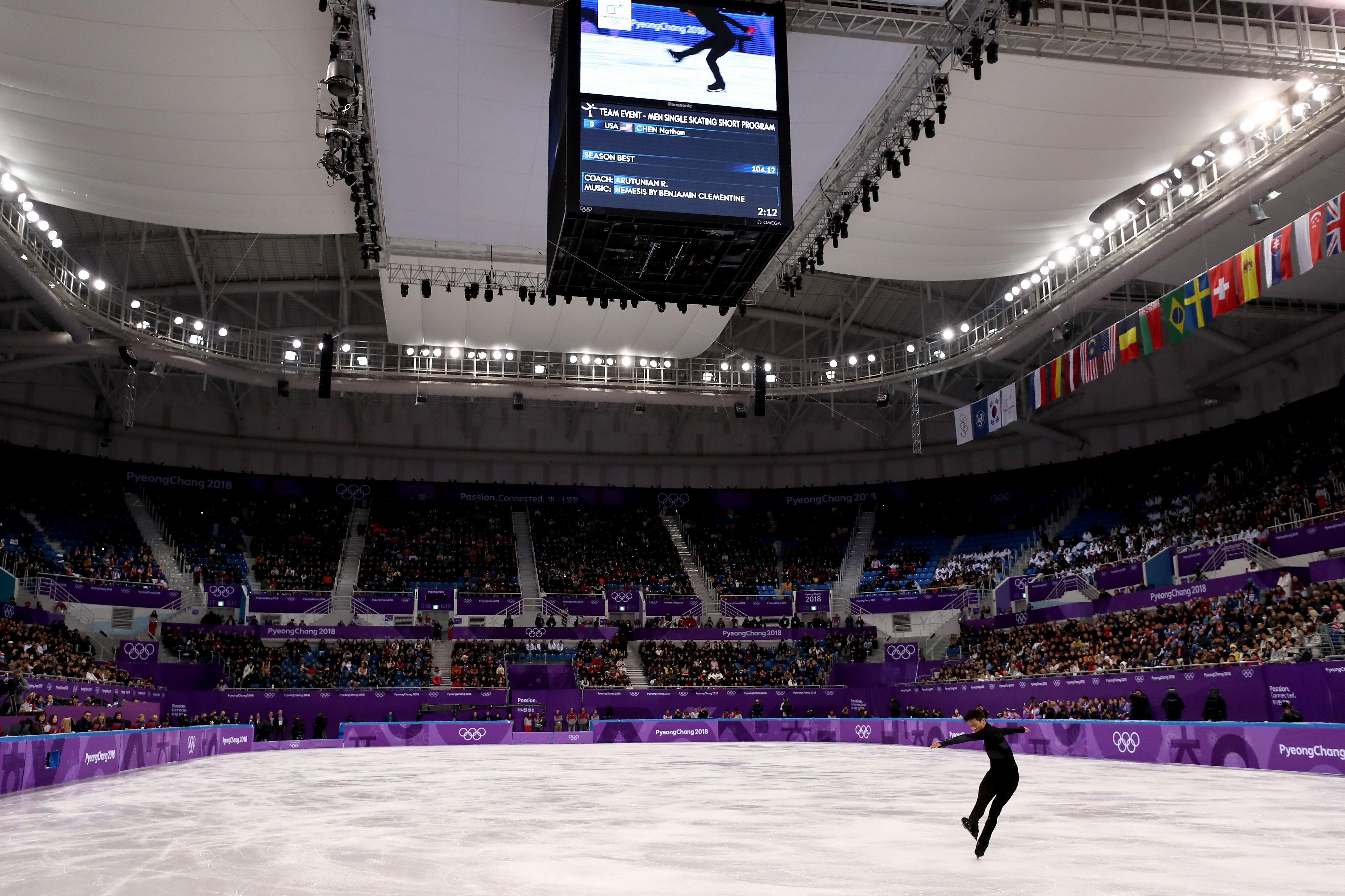 Nathan Chen competes in the men's single skating short program on Friday.