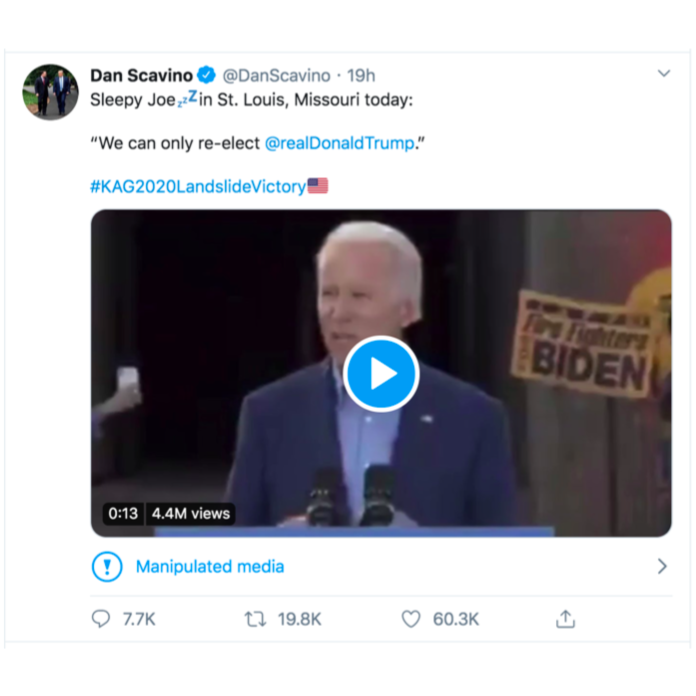 "A screenshot of Scavino's tweet, with a still shot of Biden speaking, and the ""Manipulated media"" warning beneath."