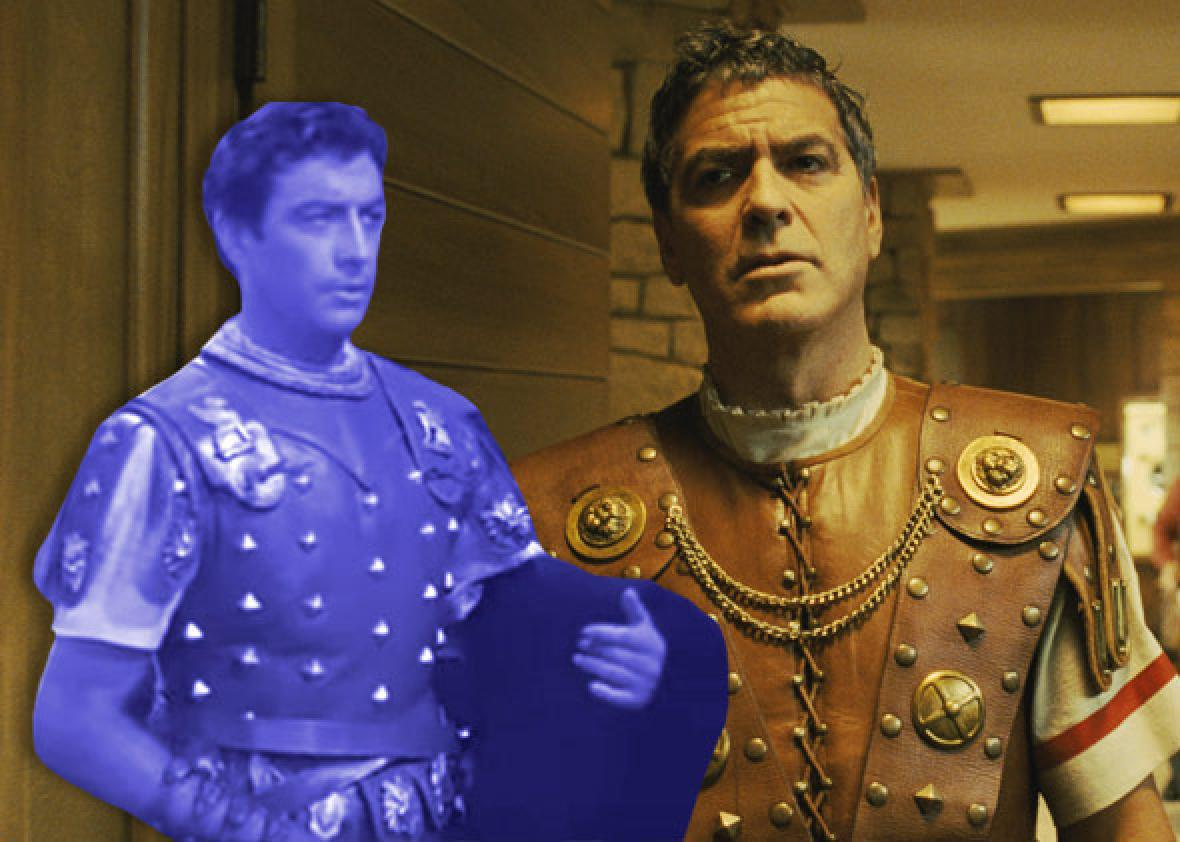 Robert Taylor in Quo Vadis and George Clooney in Hail, Caesar!
