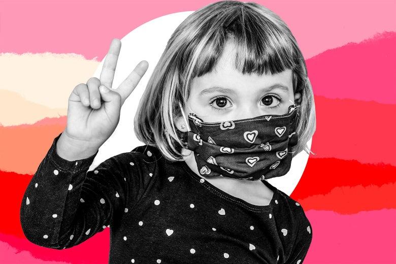 A preschool age child wears a mask.