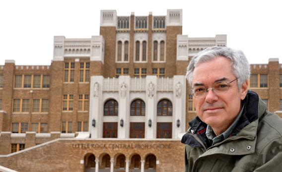 Author David Margolick in front of Little Rock Central High School.