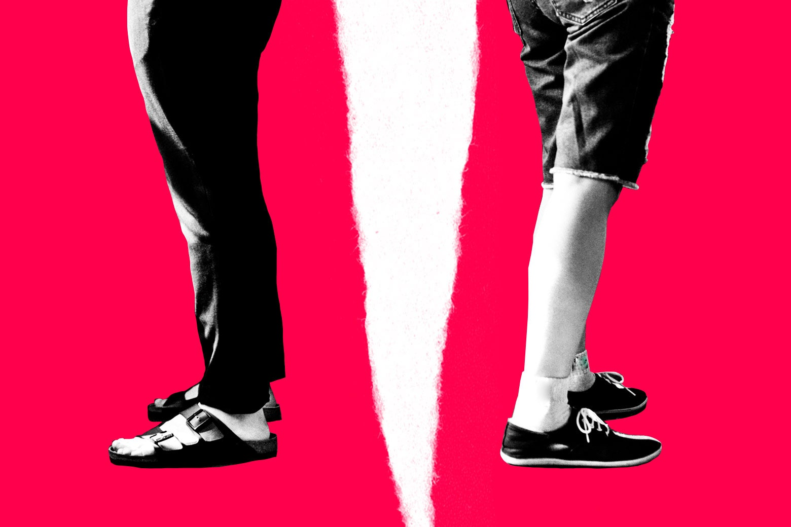 One person wearing pants and sandals and one person wearing shorts and sneakers, pictured from the waist down with a rift in between them.