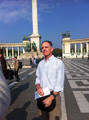 Jared Taylor, founder of the white nationalist publication American Renaissance, in Heroes' Square, in Budapest, Hungary.