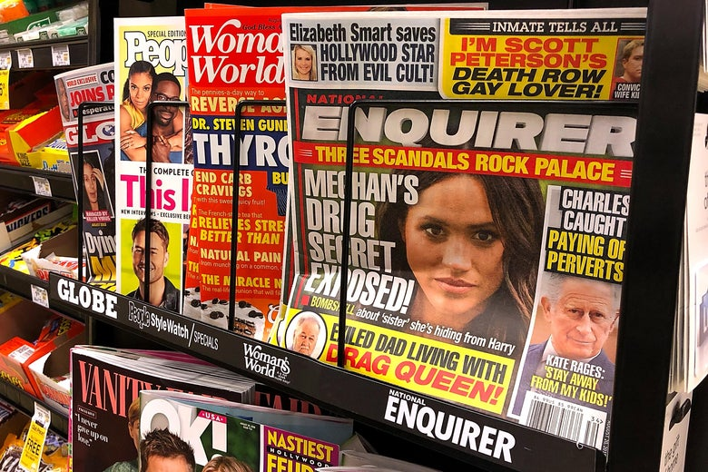 National Enquirer copies on a grocery store display