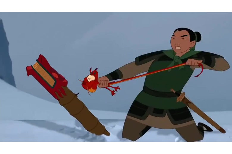 Mulan pulls her dragon's tail to make it shoot fire; the dragon's entire body twists and distorts in response.