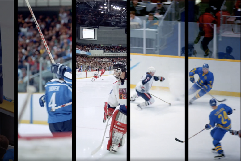 Various shots of Olympic hockey players.