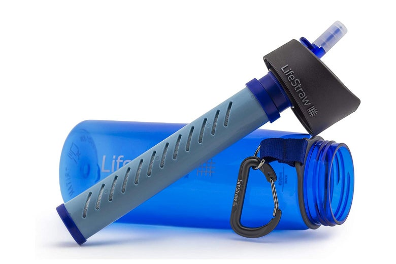 A LifeStraw water bottle.
