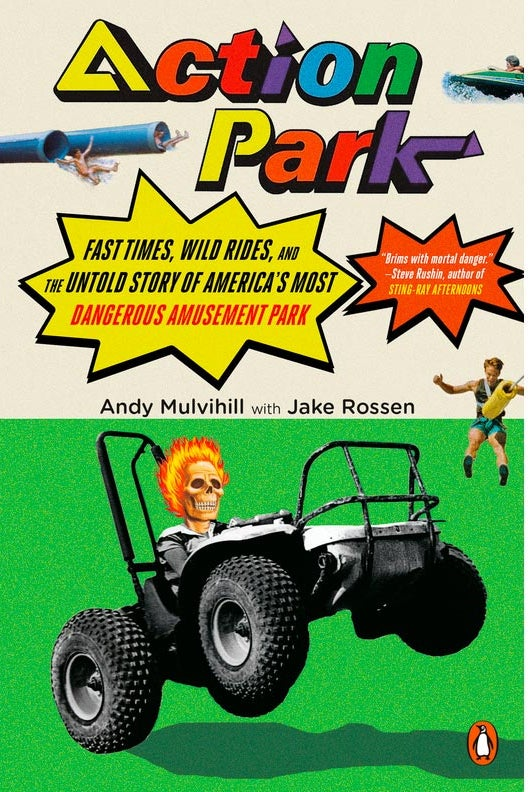 The book cover showing a skeleton with flaming hair riding an ATV that's popping a wheely