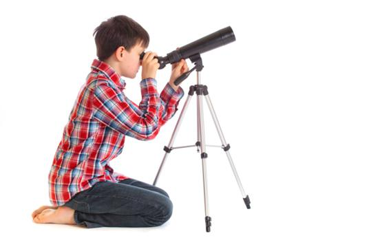 Boy with telescope.