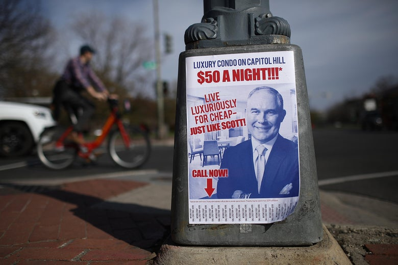 Fliers posted around Capitol Hill poke fun at EPA Administrator Scott Pruitt on April 6, 2018 in Washington, DC.