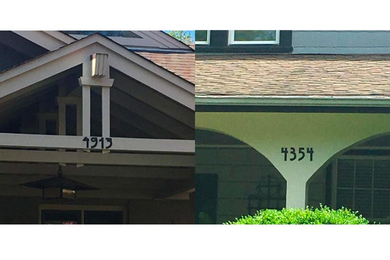 Frank Lloyd Wright-styled numbers.