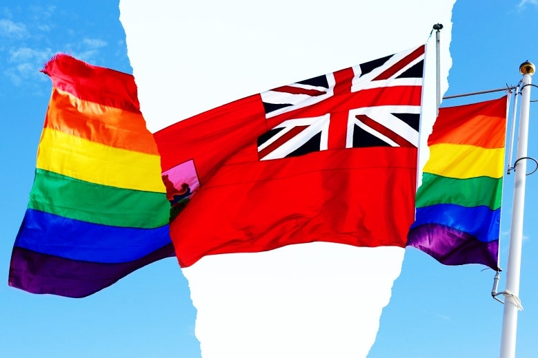 Photo illustration: an LGBTQ pride flag is broken up by the Bermuda territory flag. Photo illustration by Thinkstock and Drew Angerer/Getty Images.