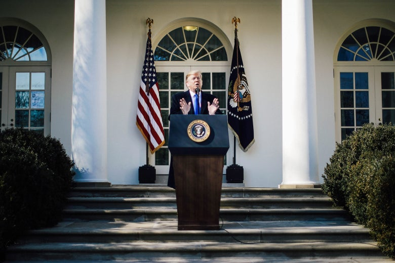 President Donald Trump speaks on border security during a Rose Garden event at the White House on Friday.