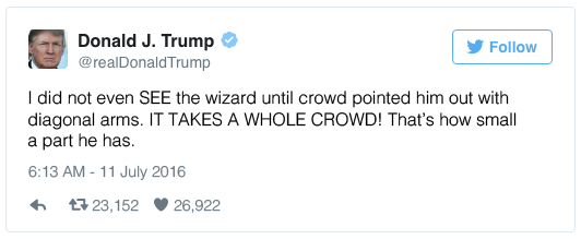 I did not even SEE the wizard until crowd pointed him out with diagonal arms. IT TAKES A WHOLE CROWD! That's how small a part he has.