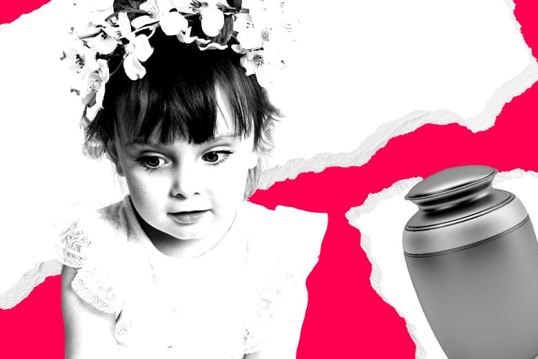 A young girl is dressed as a flower girl. An urn is at right.