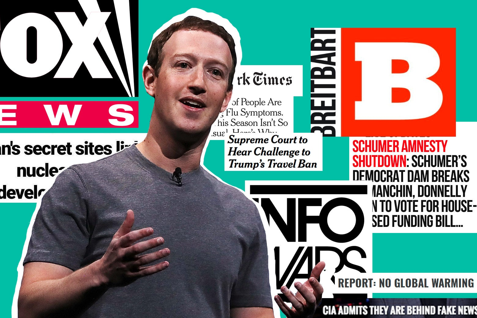 Mark Zuckerberg shown amid headlines from the New York Times, Breitbart, Fox News, and so on.