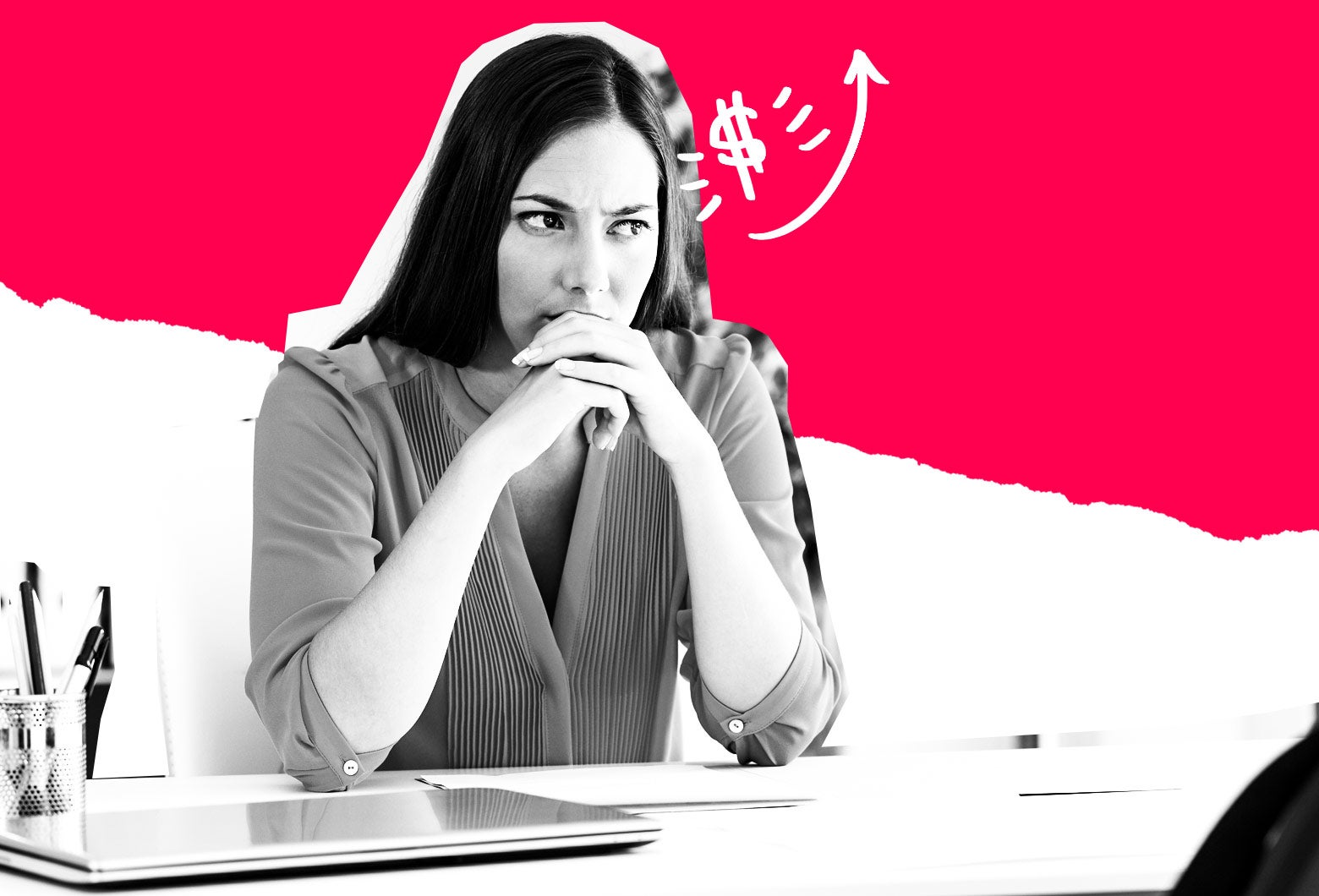 Photo illustration: A woman thinks as she sits at a desk. Photo illustration by Slate. Photo by Thinkstock.
