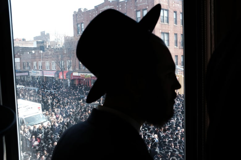 Thousands of mourners gather in Borough Park for the funeral of The Skulener Rebbe, Rabbi Yisroel Avrohom Portugal who died on Monday on April 2, 2019 in New York City.