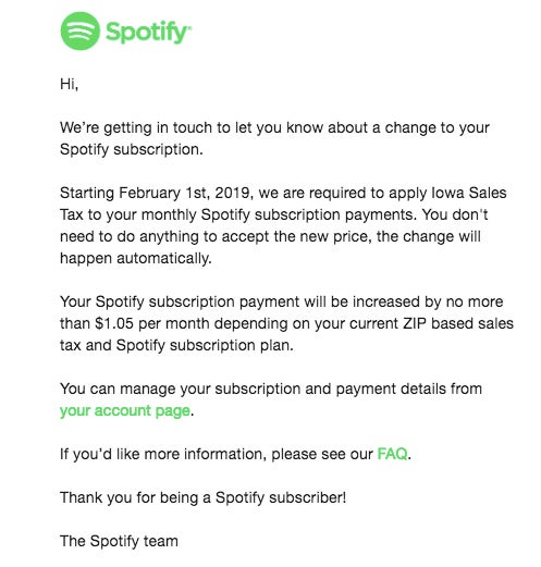 Spotify email notifying customer of sales tax.