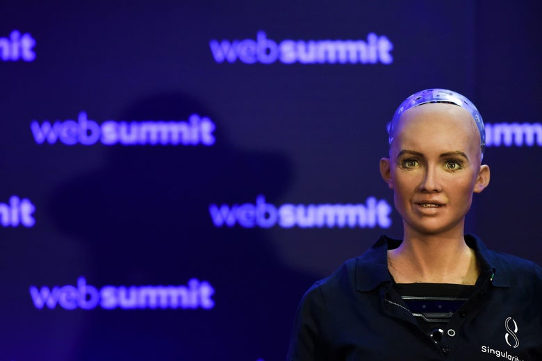 Humanoid 'Sophia The Robot' of Hanson Robotics answers questions during a press conference at the 2017 Web Summit in Lisbon on November 7, 2017.  Europe's largest tech event Web Summit is held at Parque das Nacoes in Lisbon from November 6 to November 9.  / AFP PHOTO / PATRICIA DE MELO MOREIRA        (Photo credit should read PATRICIA DE MELO MOREIRA/AFP/Getty Images)