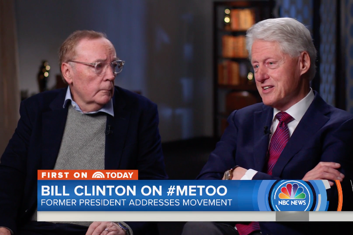James Patterson and Bill Clinton sit for an interview with an NBC News reporter.