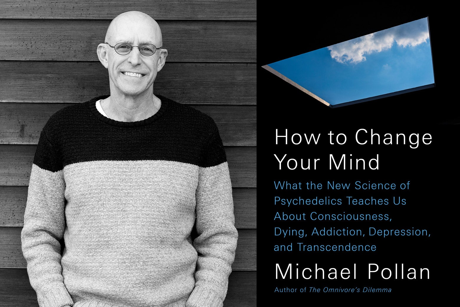 A photo of Michael Pollanc and the cover of his book.