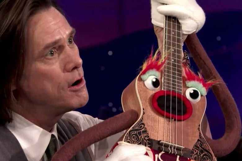 In a scene from Kidding, Jim Carrey's Mr. Pickles performs with a puppet-like ukulele.
