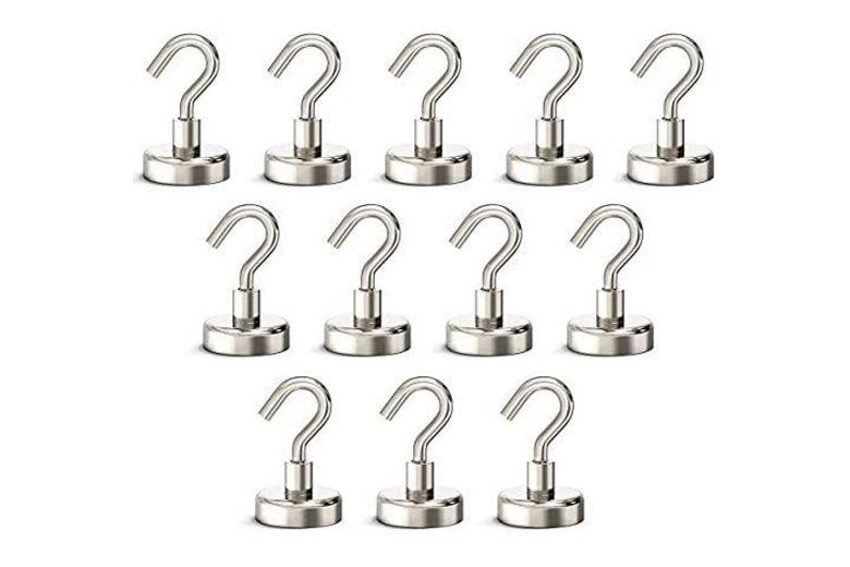 Twelve metal hooks