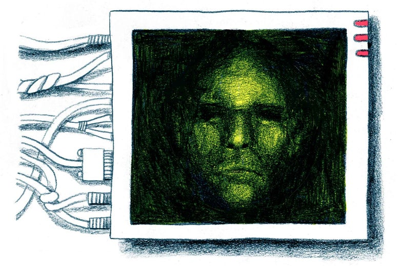 Image of a face within a tech console as wires protrude from it.