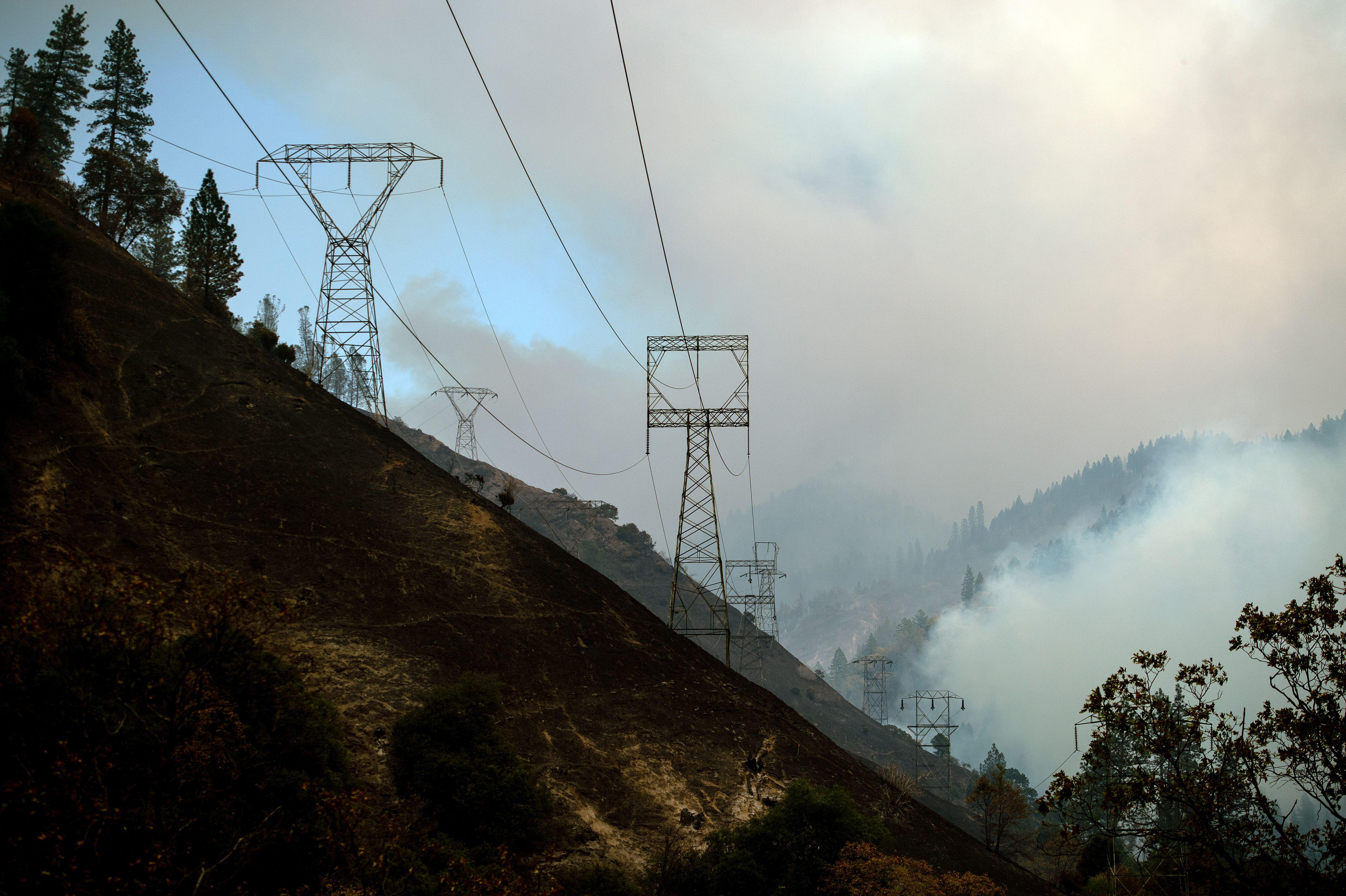 Smoky skies amid power lines in California.