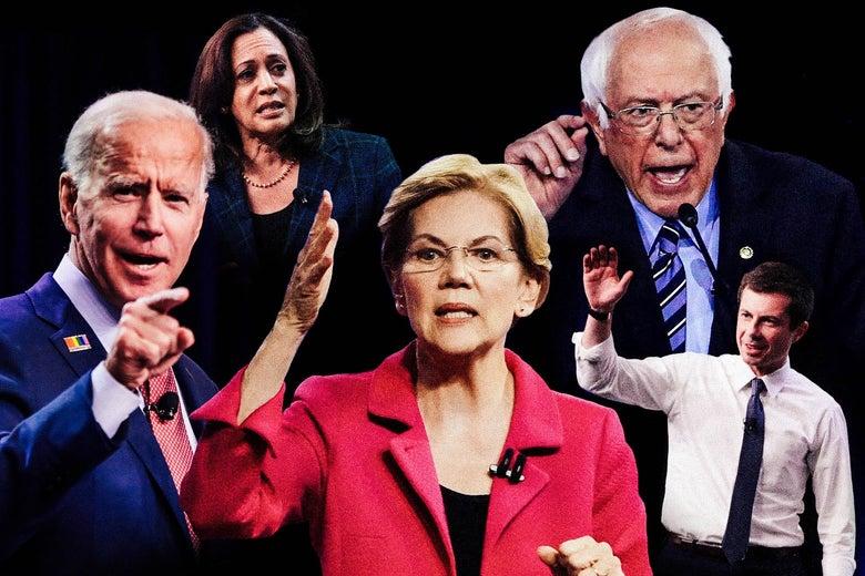 Joe Biden, Kamala Harris, Elizabeth Warren, Bernie Sanders, and Pete Buttigieg.