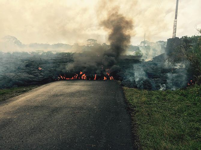 Lava inching its way toward the town of Pahoa on Hawaii's Big Island.