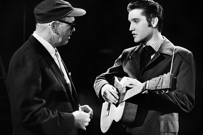 Photo taken in 1950 shows Us singer Elvis Presley during a TV show.