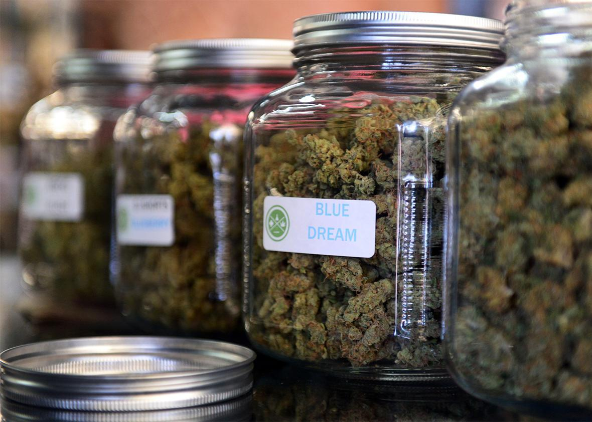 The highly-rated strain of medical marijuana 'Blue Dream' is displayed among others in glass jars at Los Angeles' first-ever cannabis farmer's market at the West Coast Collective medical marijuana dispensary in Los Angeles, California on July 4, 2014.