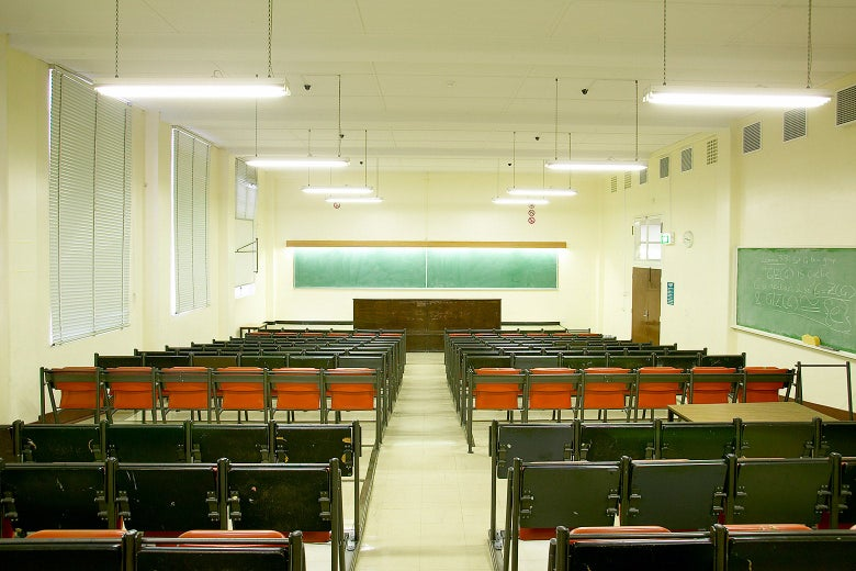 An empty college lecture hall.