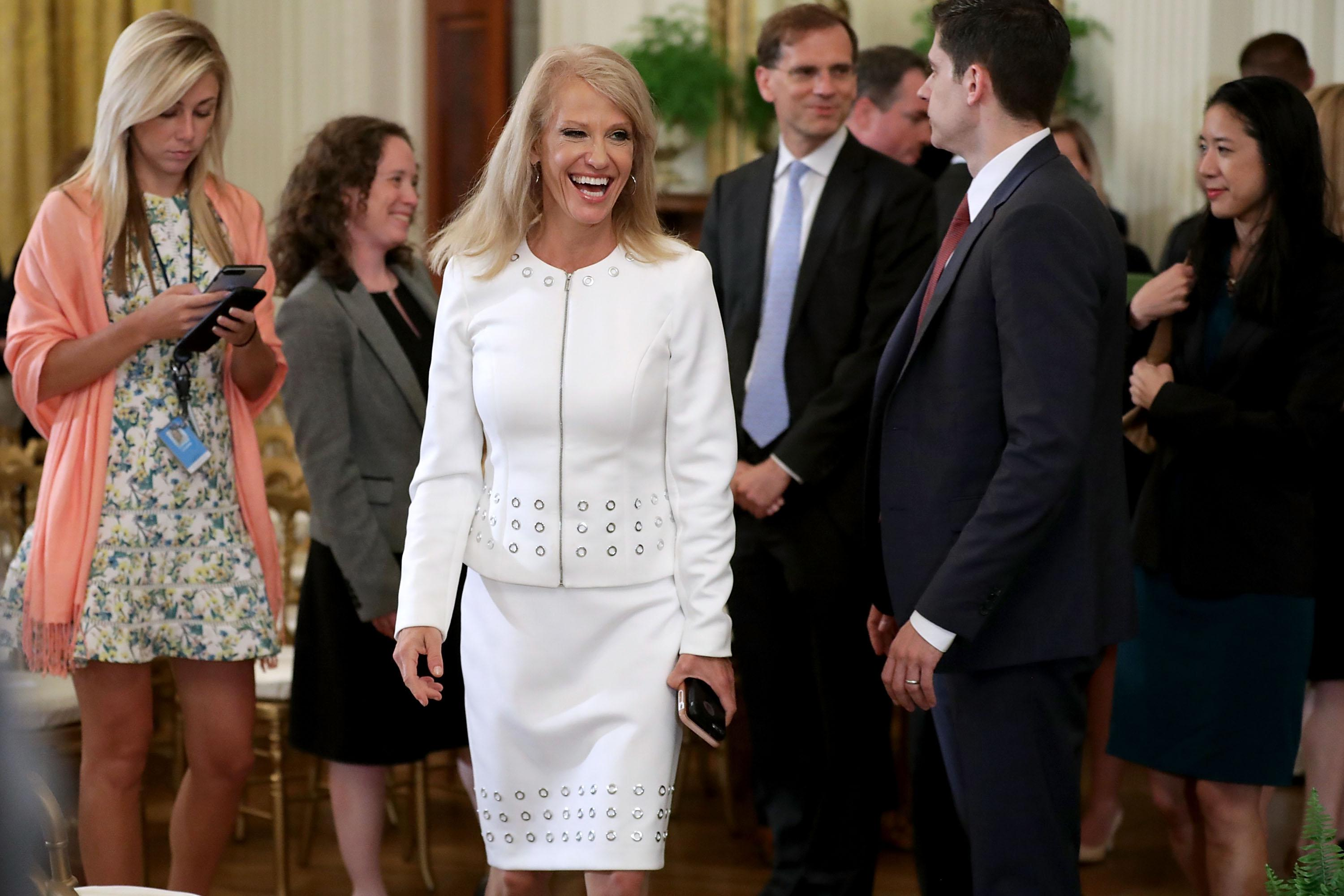 Counselor to the president Kellyanne Conway leaves the East Room after President Donald Trump announced Judge Brett M. Kavanaugh as his nominee to the United States Supreme Court at the White House July 9, 2018 in Washington, D.C.