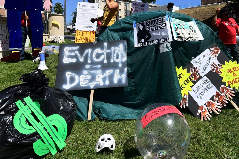 "Anti-eviction signs on the grass at a protest with slogans including ""Eviction = Death,"" ""Choose Renters Not Billionaires,"" and ""Stop the Violence"""