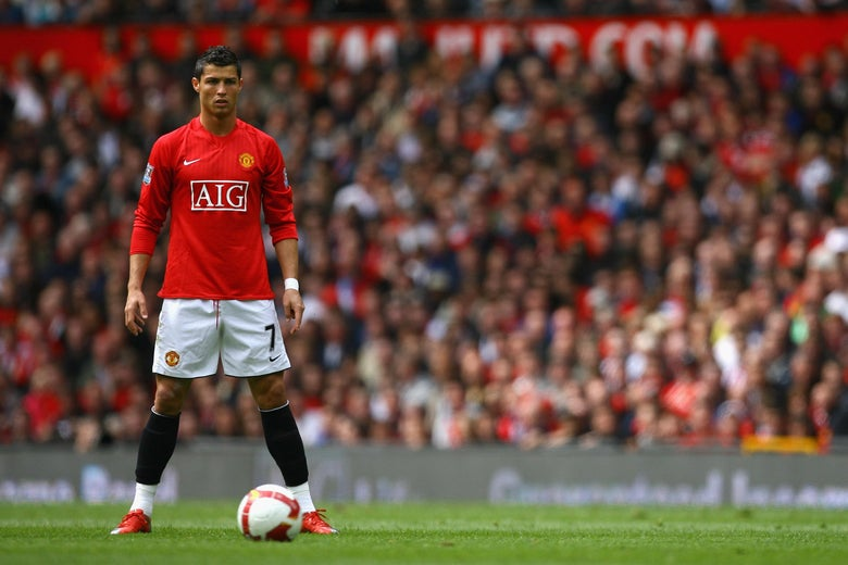 Cristiano Ronaldo of Manchester United lines up a free kick.